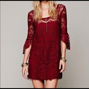 NWOT Free People red lace slip on dress